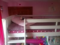 High sleeper bed with desk and shelving