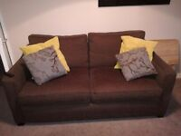 Brown three piece suite,3 seater and 2 chairs, Excellent condition only 1 year old