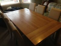Solid Oak Dining Table & Real Cream Leather Chairs