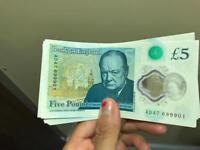 *NEW* condition RARE plastic five pound note AD47 699901 ('999')