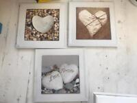Set of 3 heart print hanging pictures