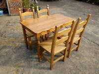 Quality pine table and chairs