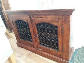 Indian wood and wrought iron tv cabinet