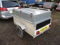 GALV STEEL BOX TRAILER 5 X 3 X 2-6 WITH STEEL LID / RACK....