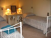 2 Single Ivory White bed frames with brass finials with 2 Silentnight Cushion Top mattress as new.
