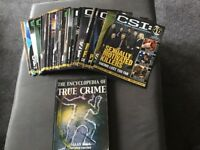 CSI magazines and a encyclopedia of true crime