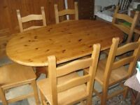 QUALITY SOLID PINE OVAL TABLE & 6 X STURDY,SOLID WIDE SEATED CHAIRS. VIEWING/DELIVERY POSSIBLE