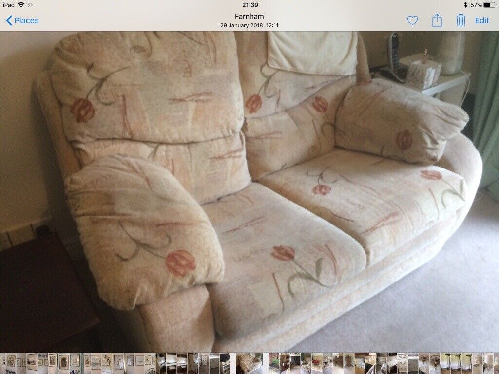 Fabulous Three Piece Suit Small Two Seater Sofa And Two Matching Evergreenethics Interior Chair Design Evergreenethicsorg
