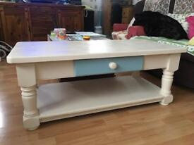 Large Hand Painted Farmhouse Solid Pine Coffee Table with Drawer