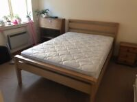Solid ash bedframe with mattress (optional)
