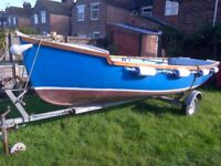 17 ft open dinghy with 5 hp Honda outboard