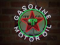 "18""x18"" Real Glass Neon Light Sign Vintage Texaco Gas Motor Oil Man Cave Garage"
