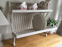 Country Farmhouse Painted Pine Plate Rack Storage