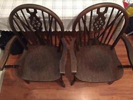Dark oak chairs x2