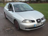 2002 SEAT IBIZA S 1.2, MOT JAN 2019, £595