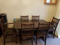 Solid wood extendable dining room table and chairs