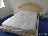 King Size Bed with attached drawer units and mattress