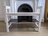 White Ikea Tjusig bench with shoe storage