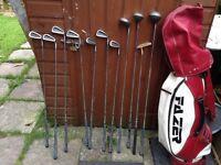 11 golf clubs & bag