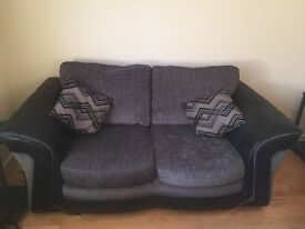 2 x DFS 2 seater sofas and matching footstool