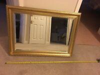 nice gold effect mirror 3 feet x 2 feet. wood gilt