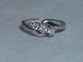 Diamond Engagement Ring 18ct White Gold 18 carat Hallmark Eternity Boxed Size K