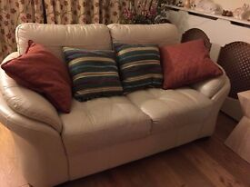 Cream Leather Sofas 3, 2 & 1. LAST MINUTE DROPPED PRICE.