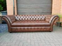 Chesterfield genuine leather 3seater sofa in NEAR NEW CONDITION! BARGAIN!