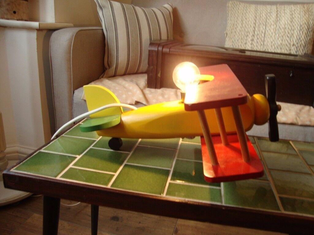 Wood Bi-Plane Lamp
