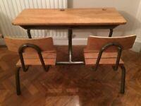 Vintage French Oak Double School Desk