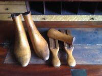 Vintage light oak shoe lasts / book ends decorative pieces.