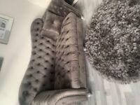 3 seater cheasterfeild plush grey sofa