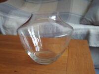 Heavy transparent thick glass bowl