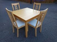 Ikea Square Extending Oak Bjursta Table & 4 Aron Chairs FREE DELIVERY 246