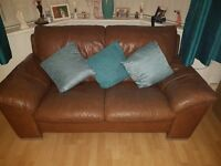 Brown Leather 3 Piece Suite ( One x 3 Seater + Two x 2 Seater)