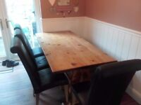 Farmhouse kitchen table, bench and 4 Barker and Stonehouse Leather Chairs