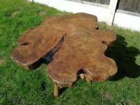 Handmade wooden resin coffee table-top elm oak old trunk of tree