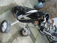 1/2 set of golf clubs, bag, trolley. balls suit youth or beginner