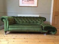 Antique vintage Chesterfield 2 seater sofa drop arm / chaise loungue