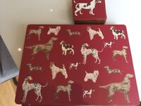 8 LAURA ASHLEY DOG DESIGN TABLE MATS AND MATCHING COASTERS. 6 MONTHS OLD AND COST ME £50 for the set