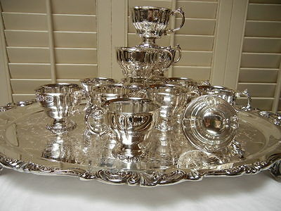 Wallace Baroque Silverplate footed fluted Punch Cups (11)  MINT USA! Free Ship!