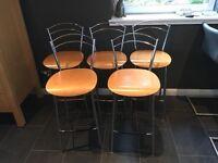 Five John Lewis Beech & Chrome Kitchen / Bar Stools VGC
