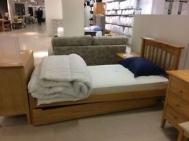 NEW MARKS AND SPENCER Hastings Light Natural Storage Bed Stead with new mattress
