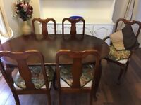 Extending Dining table & 6 chairs (2 carver) Queen Anne legs, 8 seater, UPCYCLE House Clearance