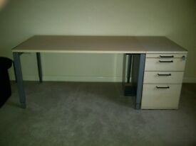 Desk (Height Adjustable) and 4-Drawer Lockable Pedestal in Maple Veneer - Good Condition