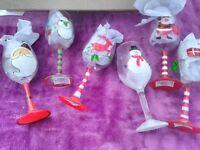set 6 christmas wine glasses - new