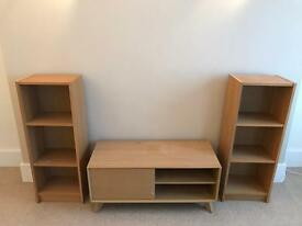 TV unit and two sets of shelves