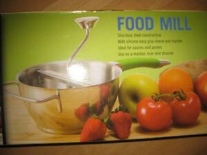Food Mill. Stainless Steel. Perfect for Baby Food, Puree, Sauce, Soup. Non Slip Handle and Knob. NEW