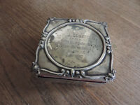 Vintage Silver Engraved Box with a velvet lining inside
