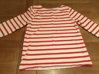 Girls red and white Breton stripe top. Boden aged 9-10